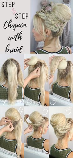 Step by Step chignon with a braid #sweetheartshair #stepbystephair #hairtutorials