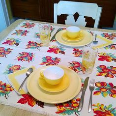 Vintage Dinnerware ~ Color of the month February 2014 table setting. Fave vintage items: vintage tablecloth topper, melmac plates, fired on glass cups n saucers, yellow scallop napkins. #artgoodieshome #colorofthemonth #tablesetting #vintage #midcentury #vintagehome #homedeco