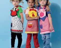 KIDS APRON PATTERN / Make Fun Aprons For Boys and Girls / Chicken - Cow - Pig / Sizes 3 to 8 From Etsy