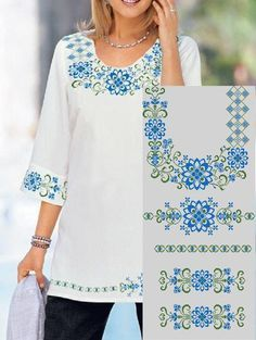 Embroidery Neck Designs, Couture Embroidery, Shirt Embroidery, Machine Embroidery Applique, Cross Stitch Embroidery, Crochet Edging Patterns, Dress Patterns, Cross Stitch Patterns, Diy Wedding Dress