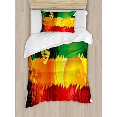 Ambesonne Rasta Iconic Reggae Music Singer Abstract Design with Sun and Palm Trees Duvet Set Size: Twin