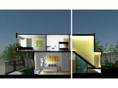 Imagen 3d render de estudio, diseño de arquitectura de vivienda unifamiliar de 2 pisos mail: consultores@arqydis.cl