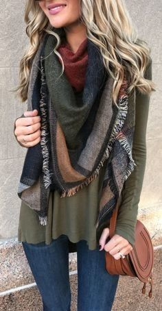 #fall #outfits women's brown and gray checked scarf