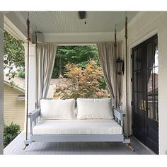 Four Oak Designs The All-American Swing Bed - Swings and More Porch Swings, How To Hang Porch Swing, Porch Swing Beds, Crib Swing, Outdoor Patio Swing, Outdoor Decor, Outdoor Spaces, Front Porch Curtains, Screened In Porch