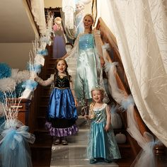 Princesses on Ice party theme: Chill out with a fabulously frozen backdrop, complete with icicles, white pumpkins and little belles of the ball. #PrincessesOnIce #partytheme #Frozen #BuyCostumes #OrangeTuesday