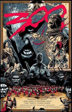 300 by Steve Kurth Best Movie Posters, Movie Poster Art, Poster S, Cool Posters, Vintage Movies, Vintage Posters, 300 Movie, Kunst Poster, Alternative Movie Posters