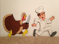 TURKEY chasing the chef thanksgiving  yard art by PlayfulYardArt