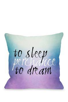 """Sleep Perchance Deam Blue/Purple Ombre 18"""" x 18"""" Zipper Pillow"""