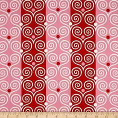Jane Sassaman Scandia Heart to Heart Red from @fabricdotcom  Designed by Jane Sassaman for Free Spirit, this cotton print fabric features vibrant stripes and an ornate heart pattern for a subtle nod to love. Perfect for quilting, apparel and home decor accents. Colors include red, pink and white.