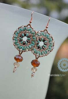 Beaded Earrings with Superduo and seed beads