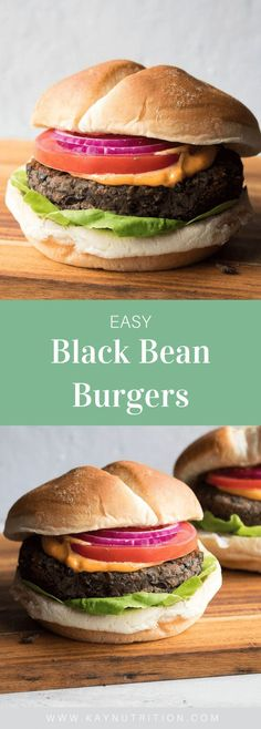 Made with canned black beans, rolled oats and spices, these easy black bean burgers are vegan, vegetarian, gluten-free, packed full of flavour and simple to make! Healthy Black Bean Recipes, Vegetarian Recipes Dinner, Entree Recipes, Veggie Recipes, Vegan Vegetarian, Veggie Meals, Paleo, Dairy Free Recipes, Gluten Free