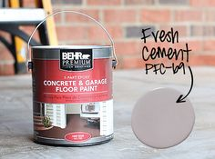 How to Paint a Concrete Patio Floor / 7thhouseontheleft.com Concrete Patios, Colored Concrete Patio, Concrete Patio Designs, Concrete Garages, Cement Patio, Stained Concrete, Concrete Floors, How To Paint Concrete, Painting Concrete Porch
