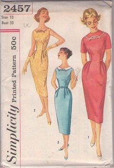 MOMSPatterns Vintage Sewing Patterns - Simplicity 2457 Vintage 50's Sewing Pattern SIZZLING Hot Figure Flattering Curvy Girl Scoop Neck, Hip Pleats Rockabilly Era Cocktail Party Dress SO AUDREY Size 13
