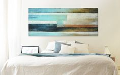 want this....XL Abstract painting  Stream blue camel Landscape  door RonaldHunter, $429.00