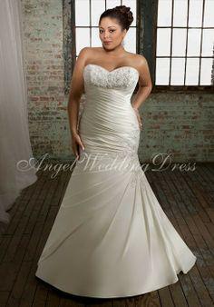 Trumpet Fit And Flare Strapless Chiffon Plus Size Wedding Dress With Ribbon JSWD0343