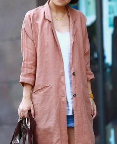 Solid Color Casual Linen Coat CustomMade Fast Shipping by zeniche Casual Work Outfits, Basic Outfits, Mom Outfits, Work Casual, Coats For Women, Jackets For Women, Womens Linen Clothing, Dress Neck Designs, Stylish Coat
