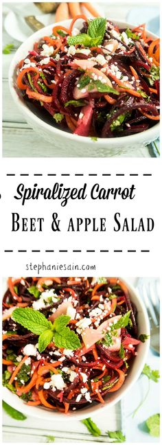 This Spiralized Carrot Beet & Apple Salad is a healthy tasty salad great made ahead and perfect for any occasion. Fun and colorful making it a great addition. Vegetarian, Gluten Free, & Vegan option.