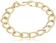 14k Yellow Gold Italian Hammered Link Bracelet, 7.5' * Click on the image for additional details.-It is an affiliate link to Amazon.
