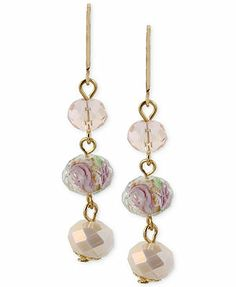 Haskell Gold-Tone Triple Bead Drop Earrings