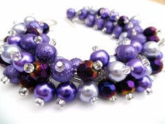 Purple Pearl Beaded Bracelet Purple and Lilac by KIMMSMITH on Etsy