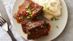 Bone-in beef short ribs are slow cooked in a sweet-and-spicy barbecue sauce for tender, flavorful, fall-off-the-bone meat. Serve this indulgent dinner with extra barbecue sauce and a side of Betty Crocker™ mashed potatoes.