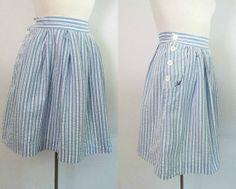 Vintage Seersucker Skirt Blue and White Stripes by rileybella123, $28.00