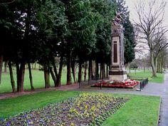 Stourbridge War Memorial (by John Cassidy, Sculptor) in its present location in Mary Stevens Park