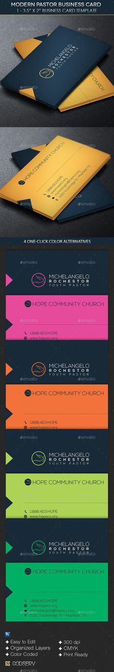 Buy Modern Pastor Business Card Template by Godserv on GraphicRiver. Modern Pastor Business Card Template is customized for church pastors that desire a modern clean business card. Cleaning Business Cards, Unique Business Cards, Business Card Logo, Corporate Design, Business Card Design, Branding Design, Cv Web, Graphisches Design, Design Cars