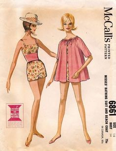 1960's VTG McCall's  Misses' Bathing Suit and Beach Coat Pattern 6861 Size 14