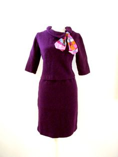 Stunning 50s Aubergine Boucle Suit Dress  by OmAgainVintage