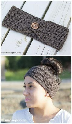 Buttoned Up Headband by B.hooked Crochet  f8bd0d1a2c2