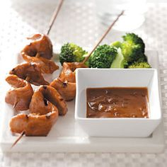 Grilled Pork Tenderloin Satay - Peanut butter and soy sauce come together for great Asian flavor. Serve on roasted veggies and yellow rice.