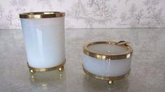 Rare French Vintage Gilt Brass Opalescent Glass Cigaratte Holder Ashtray Set