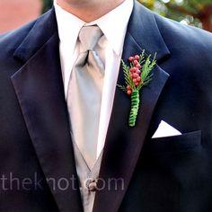 Holiday wedding boutoniere.   #Whiteflash #Verragio