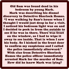 Murder Mystery: How Was Mark Arrested for Murder? Story Riddles, Mind Riddles, Brain Teasers Riddles, Funny Riddles, Jokes And Riddles, Teach English To Kids, Teaching English, Stories With Holes, Riddler Gotham