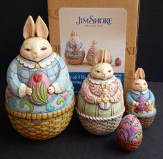 Jim Shore Heartwood Creek Set 4 Easter Bunnies Nesting Boxes *MIB* 2008 4012460
