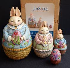 Jim Shore Heartwood Creek Set 4 Easter Bunnies Nesting Boxes *MIB* 2008 4012460