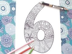 6 six number coloring book year 6 birthday anniversary kids