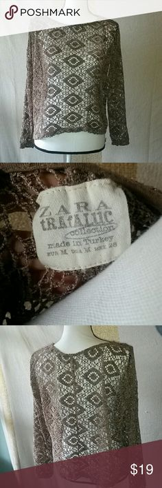Zara Trafuluc Unlined Crochet Top Medium Taupe Zara Trafuluc Unlined Crochet Top Medium Taupe Lacy See Though Length- 20 inches ( shoulder to hem)  Chest- 25 inches ( armpit to armpit) Zara Tops