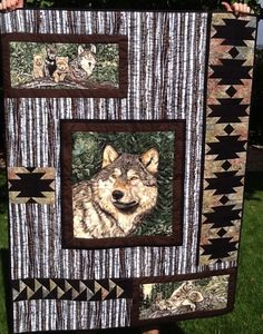 Wolf Song Panel Quilt. Great way to use a fabric panel in a quilt. Peace, Robert from nancysfabrics.com