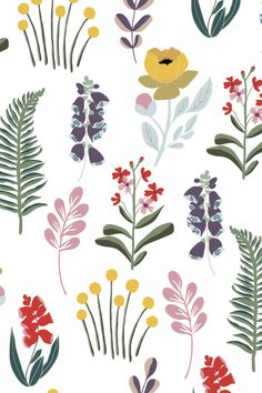 Mountain meadow study removable wallpaper - I was looking at the so closely, I think I saw them smile back at me. Bring some pattern, color and - Pattern Illustration, Botanical Illustration, Impression Textile, Eco Friendly Paper, Floral Illustrations, Surface Pattern Design, Print Patterns, Floral Patterns, Textile Patterns