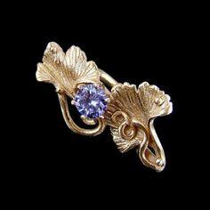 Srebrny Kot - ring - Lavender ginkgo - goldie bronze clay