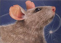ACEO OE Giclee Print Mouse Book Illustration by MelodyLeaLamb, $6.25