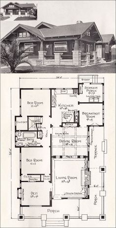 Bungalow House Plan - California Craftsman - 1918 Home Plan by E. Bungalow Homes, Craftsman Style Homes, Craftsman Bungalows, Craftsman House Plans, Craftsman Interior, Small Bungalow, California Bungalow, California Homes, The Plan
