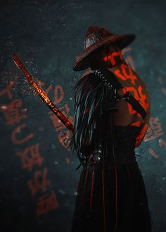 The Blind Ninja - Neon Samurai by Dmitry Mel Ninja Kunst, Arte Ninja, Ninja Art, Gaming Wallpapers, Animes Wallpapers, Dope Wallpapers, Fantasy Character Design, Character Art, Ps Wallpaper