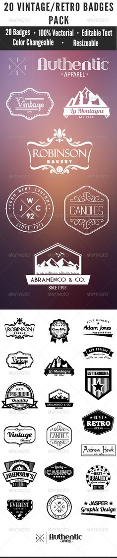 20 Vintage Badges Pack Template | Buy and Download: http://graphicriver.net/item/20-vintage-badges-pack-2/7857597?WT.ac=category_thumb&WT.z_author=StefanCelMare&ref=ksioks