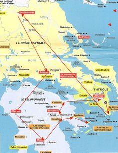 Carte de la Grèce - circuit touristique