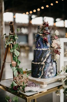 Noelle and Joe : Meowter Space themed wedding in Portland, Maine : Maine Wedding Photographer — Lindsay Vann Photography - Hinchliffe Mill photography Galaxy Wedding, Starry Night Wedding, Beautiful Wedding Cakes, Perfect Wedding, Dream Wedding, Casual Wedding, Boho Wedding, Wedding Decor, Wedding Dress