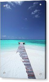 Jetty Leading To Ocean, Maldives Acrylic Print by Sakis Papadopoulos
