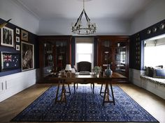 Living room - dark navy, Ralph Lauren inspired, dark stained wood, silver, blue and white